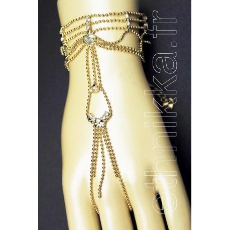 Bijou oriental bracelet doigt plaqué or