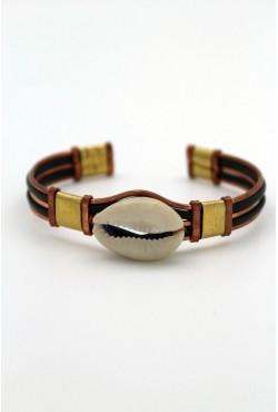 Bracelet en cuivre et cauri bijou africain