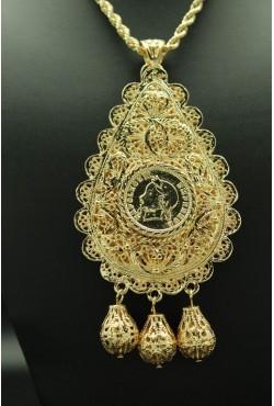 Bijou oriental collier plaqué or filigrane