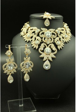 Bijoux indiens Bollywwod fashion parure florale plaqué or