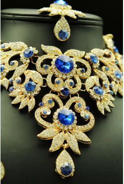 Parure florale bleue plaqué or