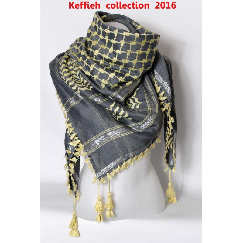 Keffieh gris beige - foulard palestinien b9f4cc5b349