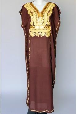 Djellaba femme marron et doré