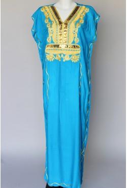 Djellaba femme bleue et dorée
