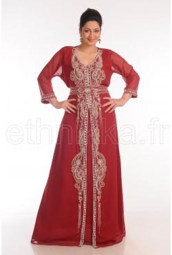 Caftan robe arabe bordeaux et argenté