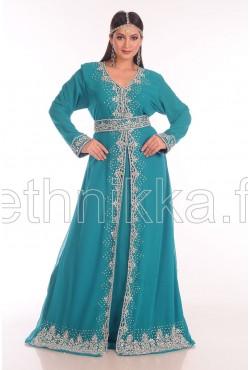 Robe de dubai Kaftan bleu émeraude