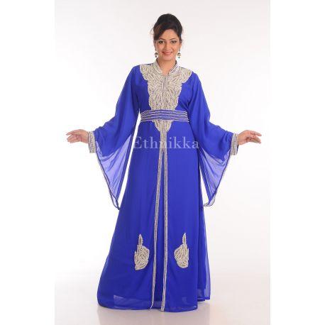 Robe Dubaï bleu roi