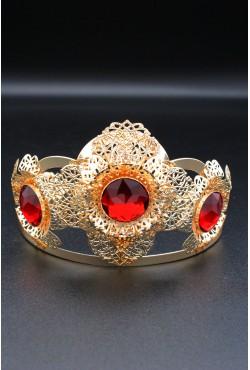 Couronne en or plaqué pierres rubis