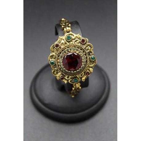 Bracelet oriental fleur plaqué or