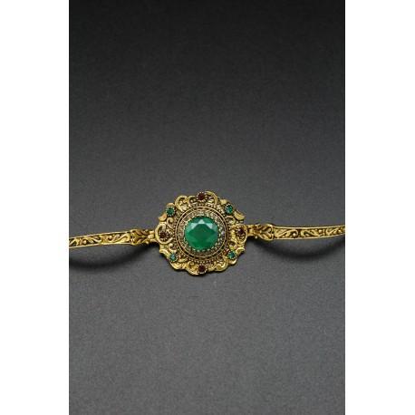 Bracelet oriental fleur plaqué or pierre émeraude