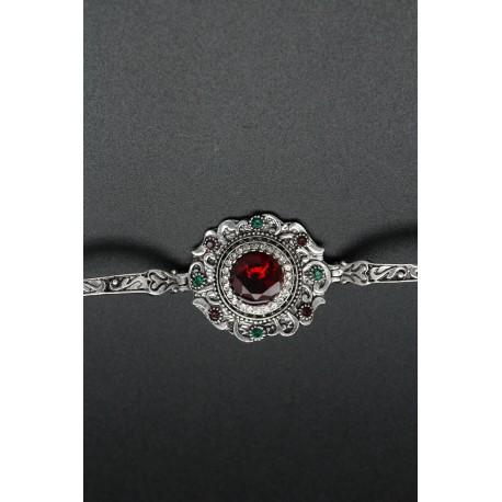 Bracelet oriental fleur plaqué argent pierre rubis