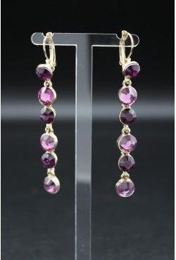 Boucles d'oreilles pendantes violet