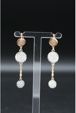 Boucles d'oreilles orientales pendantes avec médailles