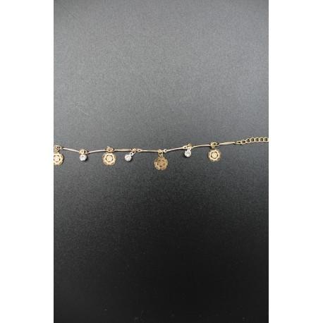 Bracelet fleurs et pierres blanches plaqué or