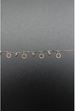 Bracelet disque Love et pierres roses plaqué or