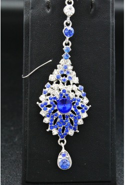 Tikka bijou de front hindi en plaqué argent pierres bleu
