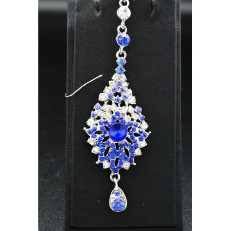 Bijou de front en plaqué argent pierres bleu