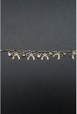 Bracelet noeuds et pierres blanches plaqué or