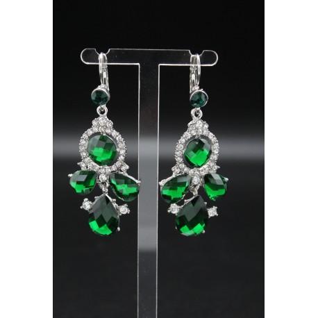 Boucles d'oreilles pendantes de perles couleurs vertes