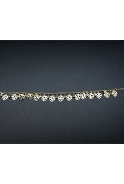 Bracelet coeur et strass blanches plaqué or