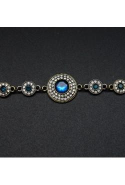 Bracelet fantaisie strass saphir et blanche