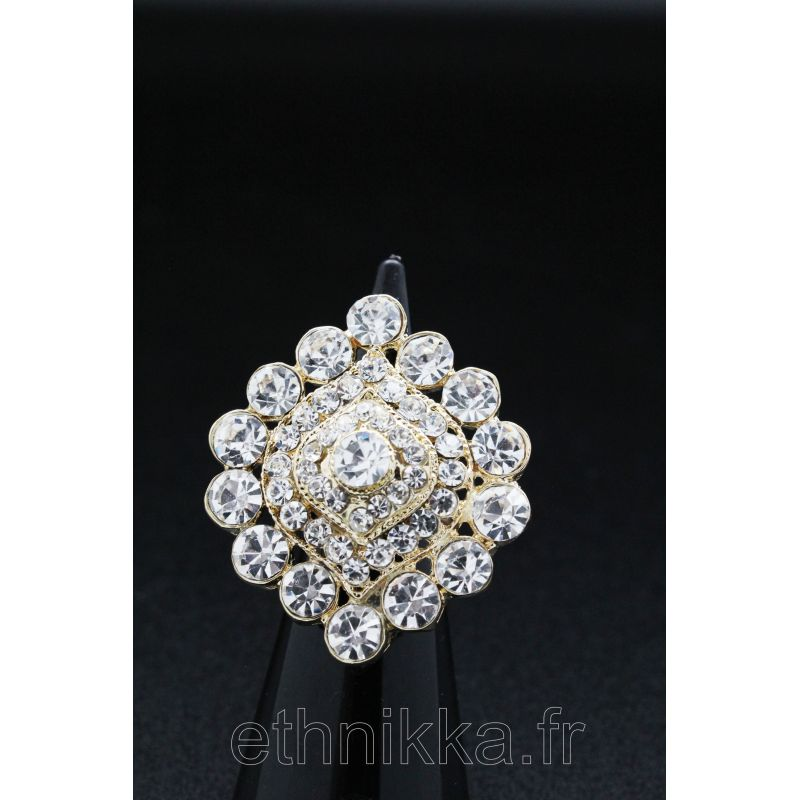 121ea22c3 Bague bijou indien réglable sertie de pierres blanche en plaqué or