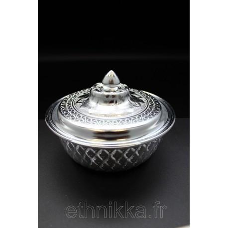 Sucrier traditionnel thailandais en aluminium ciselé