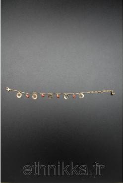 Bracelet disques et pierres rubis plaqué or