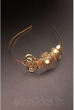 Bijou oriental serre tête en plaquée or
