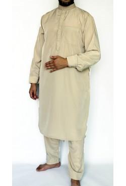 Qamis pakistanais court beige ZEIN