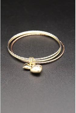 Bracelets trois tons plaqué or coeur