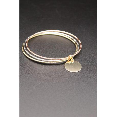 Bracelets trois tons plaqué or médaillon