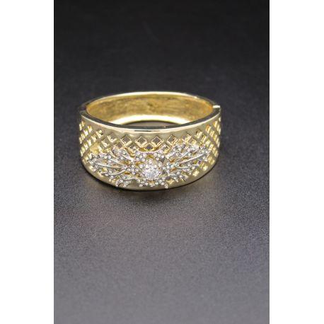 Bracelet en plaqué or et fleur en argent et pierres blanches