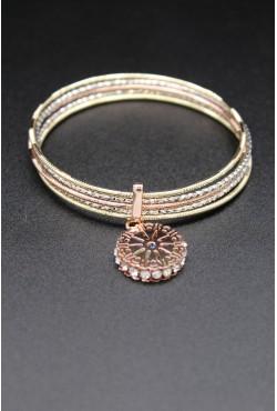 Bracelets liés en or plaqué trois tons incrusté de pierres blanches