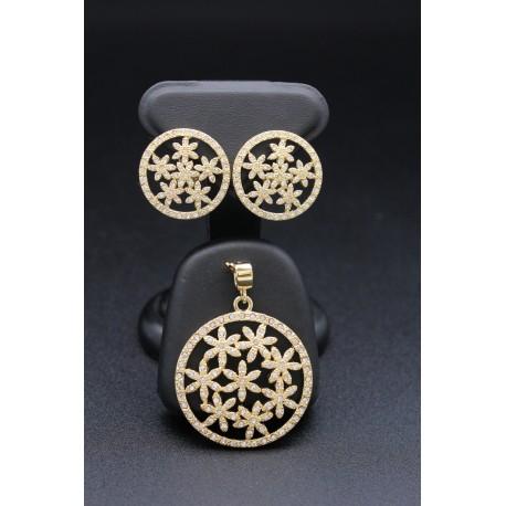 Parure bijoux orientaux en plaqué or motifs fleurs