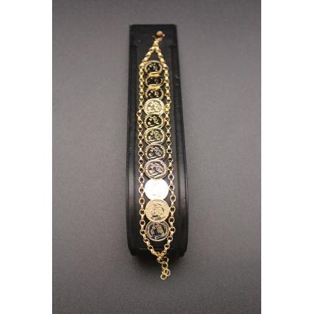 Bracelet grands médaillons napoléon III plaqué or
