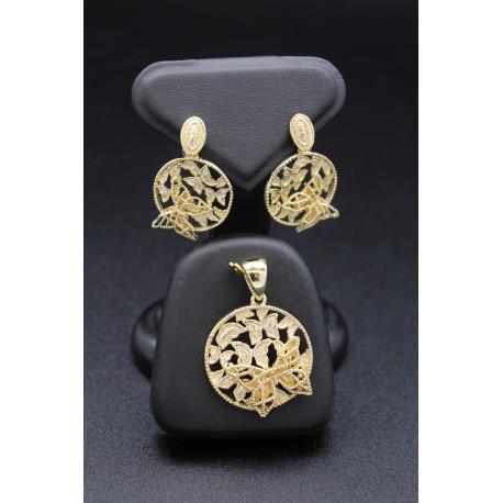 Parure bijoux orientaux en plaqué or papillon