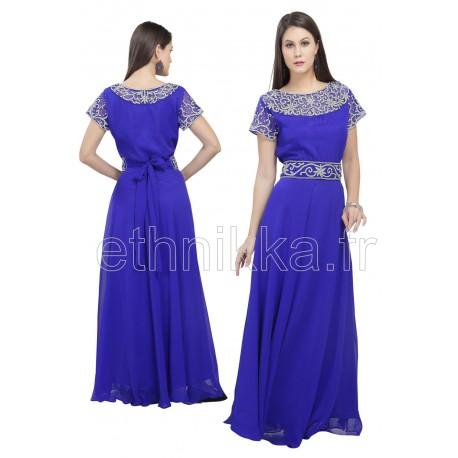 Robe de soirée cintrée bleu roi