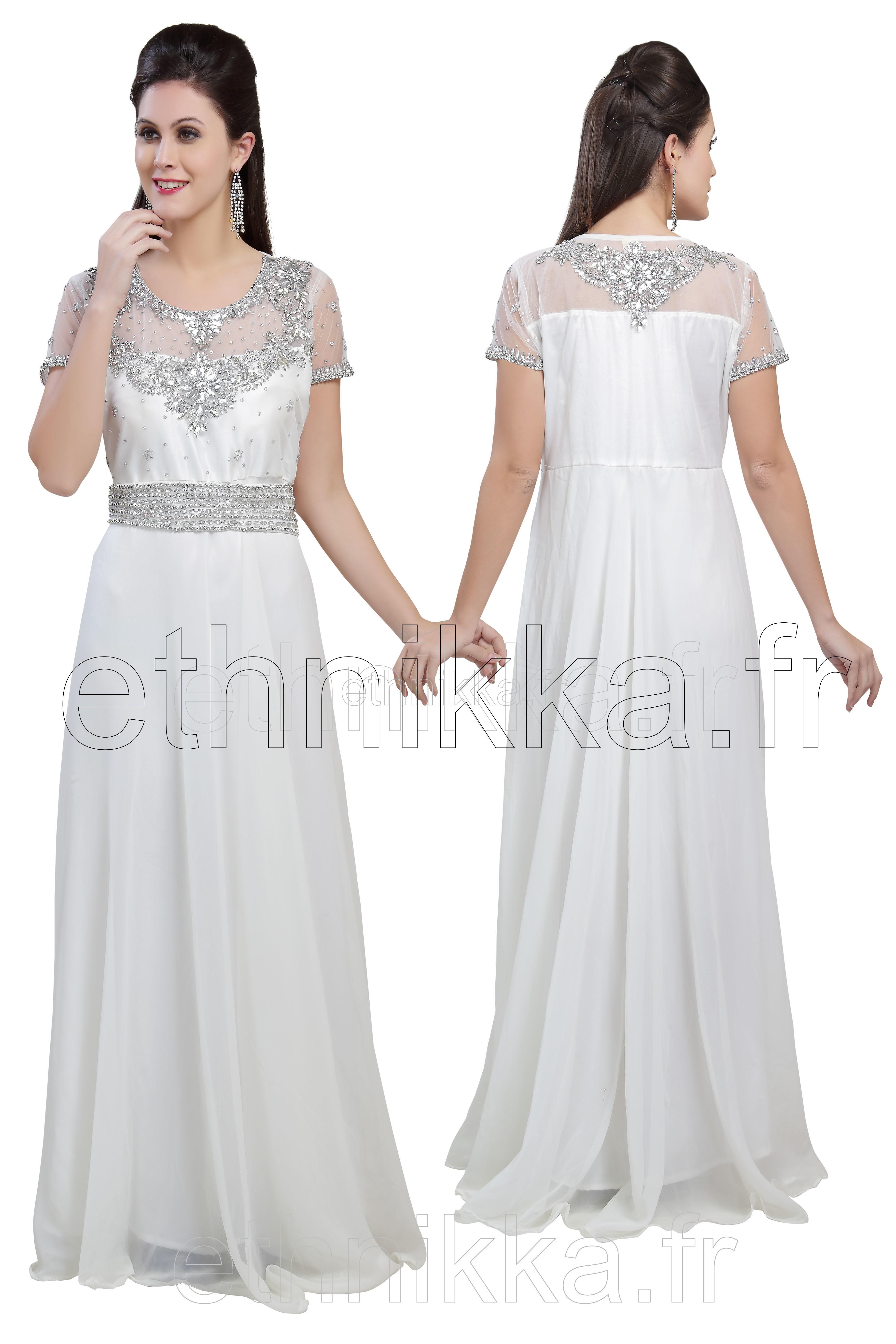robe de soiree blanche et argentee la mode des robes de. Black Bedroom Furniture Sets. Home Design Ideas