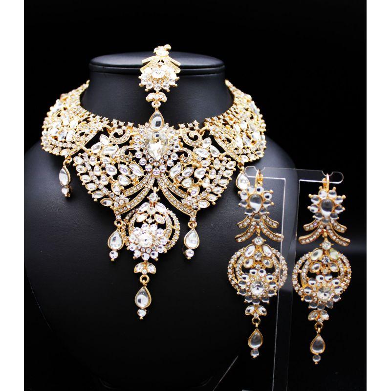 parure bijoux indiens plaqu or et pierres blanches. Black Bedroom Furniture Sets. Home Design Ideas