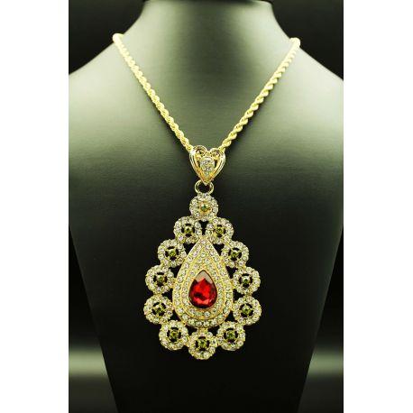 Collier bijou oriental pierres rouges et vertes
