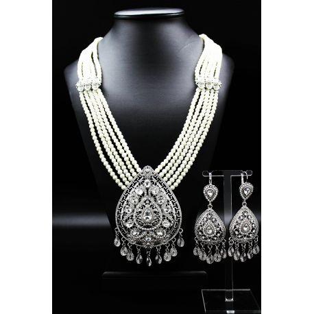Bijoux orientaux plaqué argent perles et strass