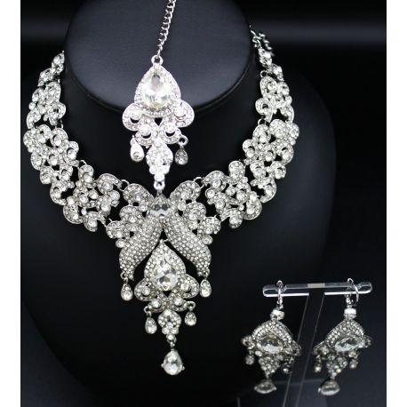 Acheter une parure de bijoux indiens à plaqué argent à pierres