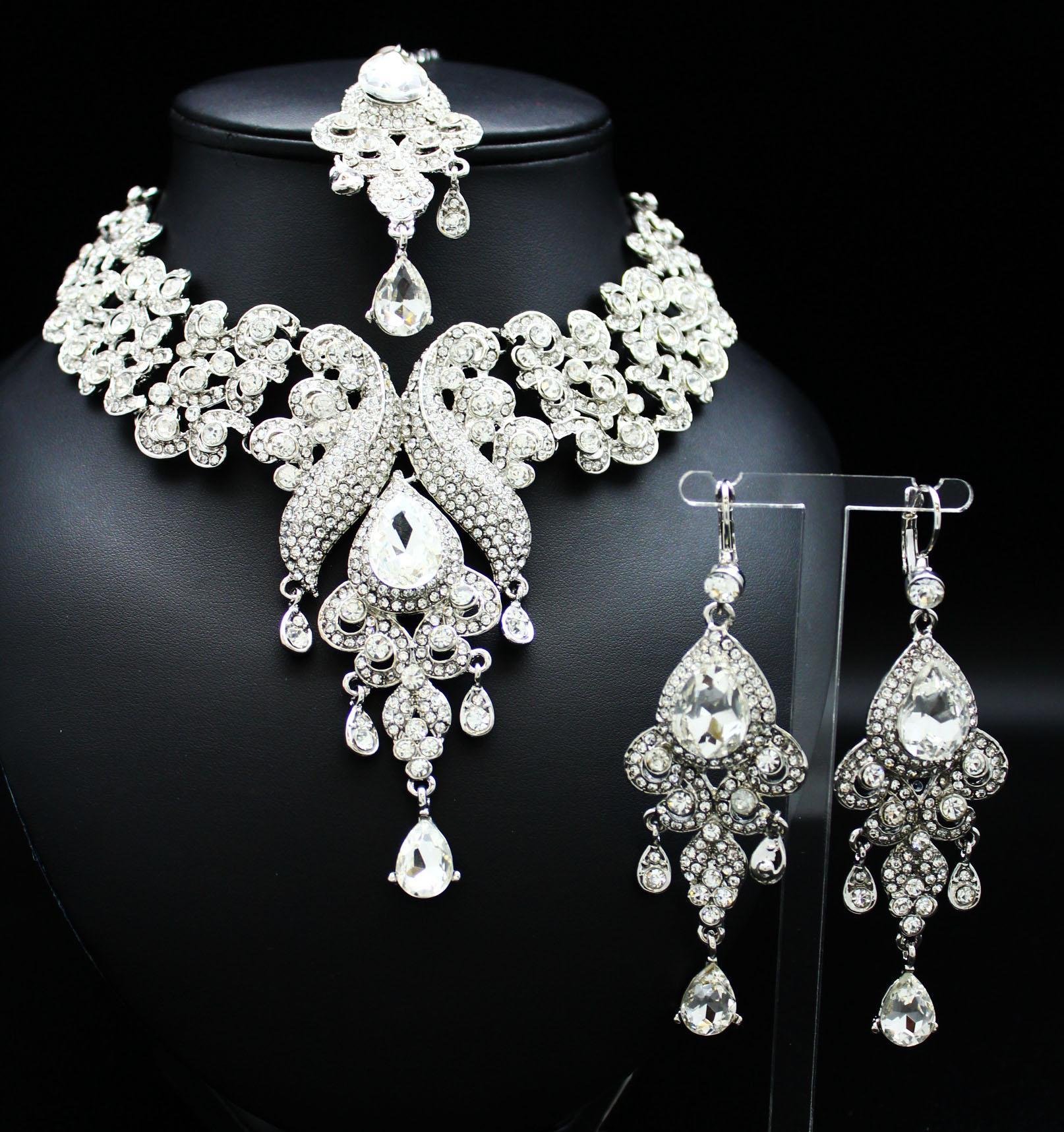 6075b90a8 Acheter une parure de bijoux indiens à plaqué argent à pierres blanches