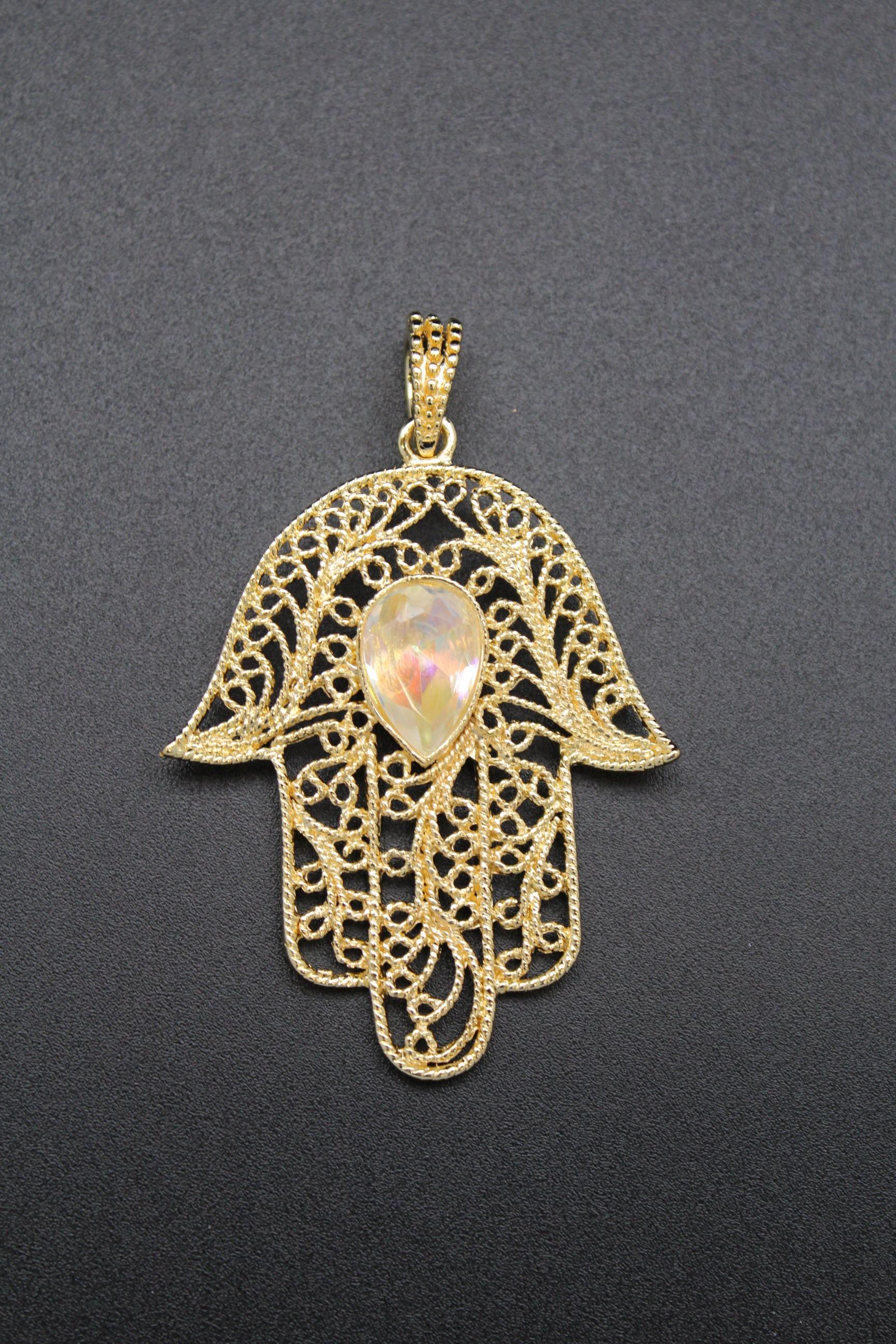 Pendentif main de fatma plaque or bijoux la mode - Bougie main de fatma ...