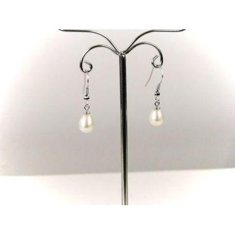 boucle d 39 oreille en perles de culture blanches. Black Bedroom Furniture Sets. Home Design Ideas