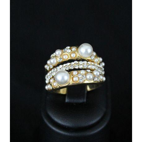 Bague bijou oriental plaqué or serti de pierres et de perles