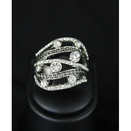 Bague bijou orientale en plaqué argent zirconiums
