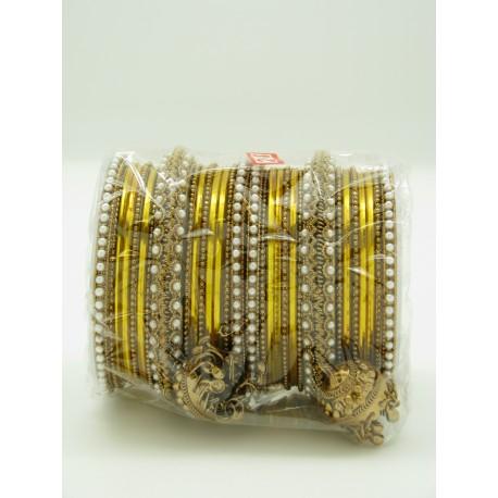 Bijoux indiens bracelets plaqué or et perles