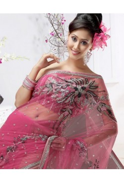 Sari mariage robe indienne brodé de perles